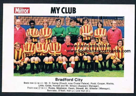1970 My Club Daily Mirror postcard-size card Bradford City
